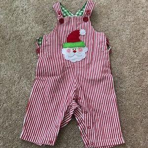 Baby boy MudPie Christmas Overalls
